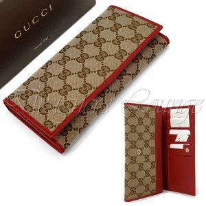 NIB GUCCI Red Leather Guccissima GG Canvas Wallet